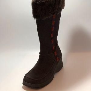 Skechers brown/fur chunky platform boots Size 7